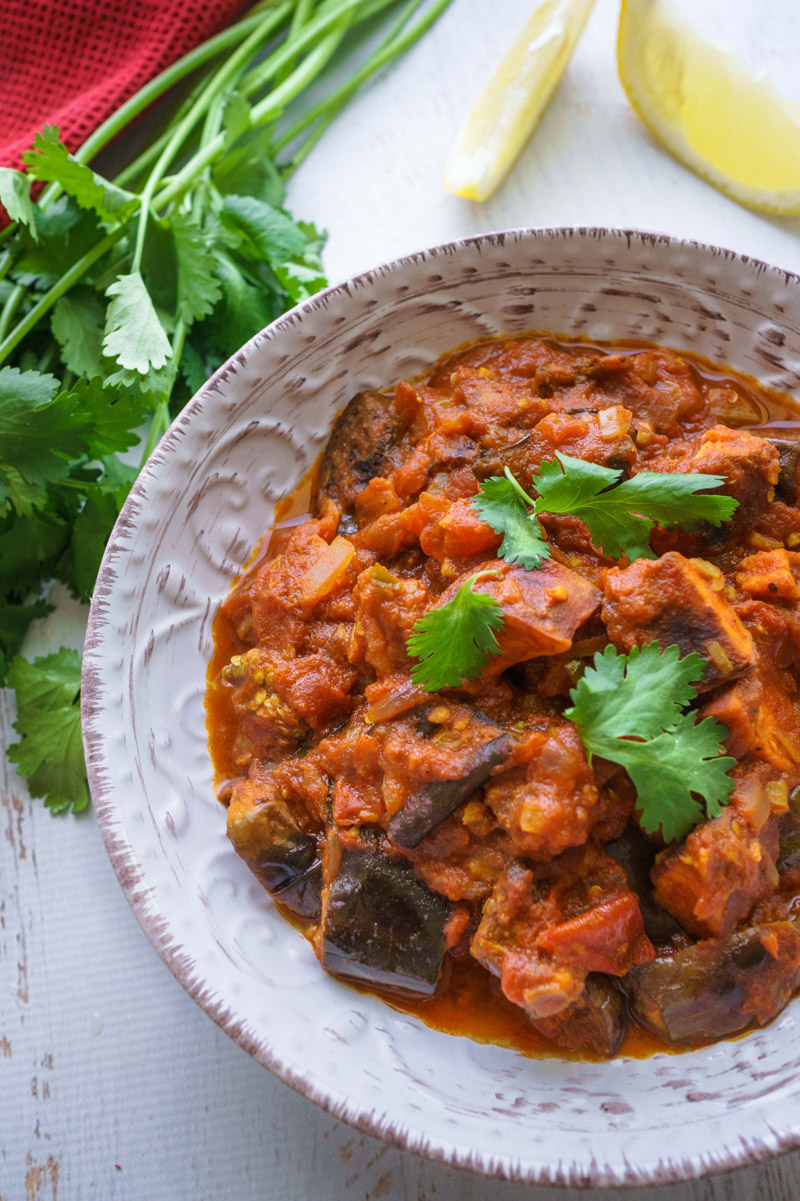 Eggplant And Sweet Potato Tomato Spiced Curry