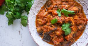 Eggplant and Sweet Potato Tomato-Spiced Curry