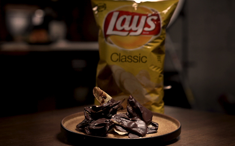 Chips dipped in chocolate